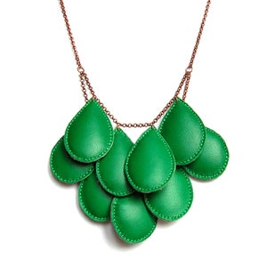 Image of Pepitas, Leather Necklace, Green