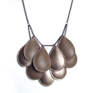 Image of Pepitas, Leather Necklace, Two-tone, grey