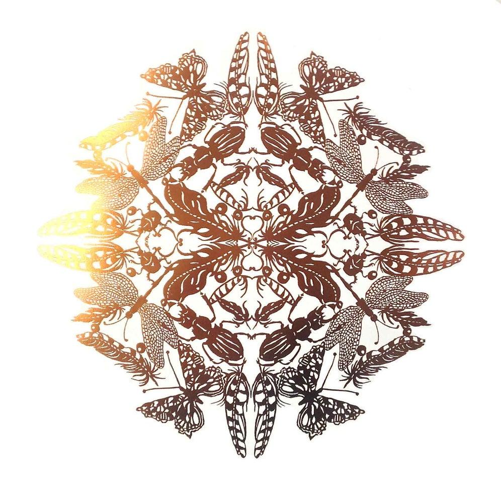 Image of Bronze Odonata-foil block on Fabriano paper edition 0f 100
