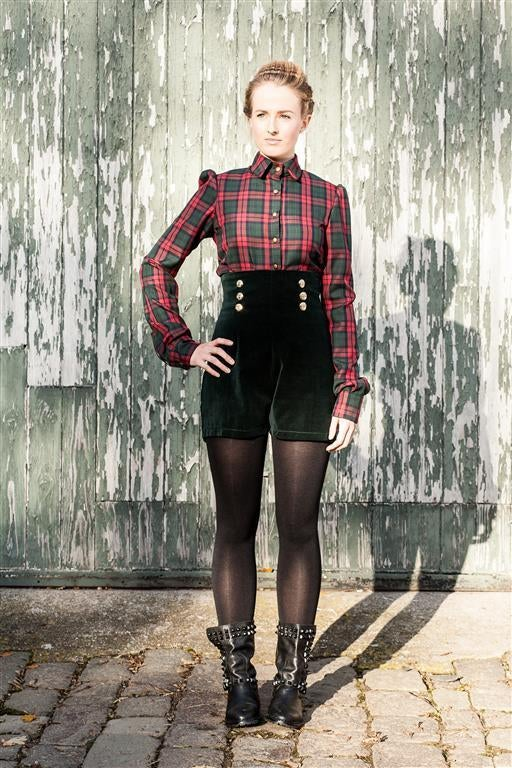 Image of Velvet high waist shorts