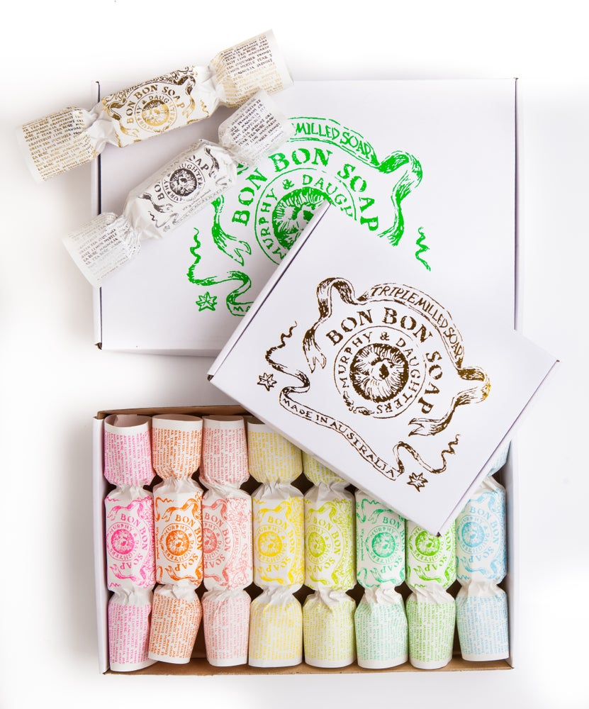 Image of Bon Bon Soap - Gold gift box with 4 different fragranced Bon Bons including one in gold foil