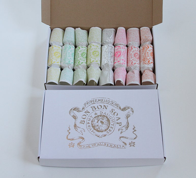 Image of Bon Bon Soap - Silver gift box with 8 different fragranced Bon Bons including one in silver foil