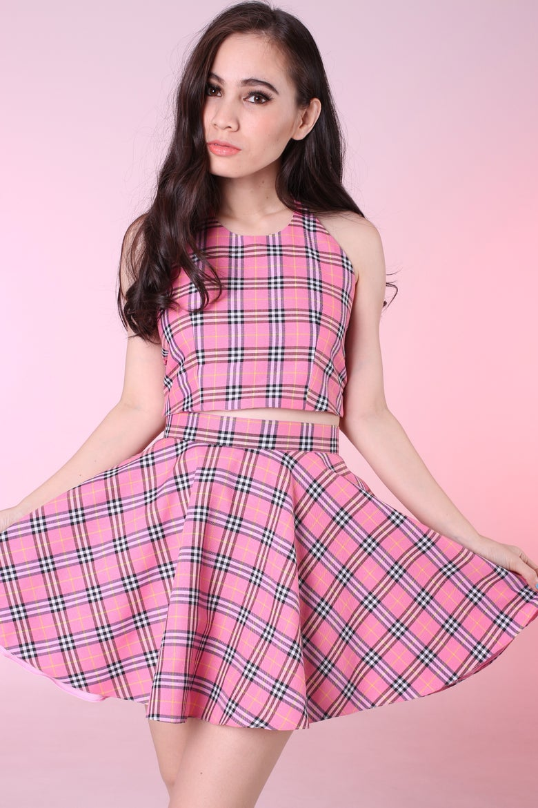 Image of Made To Order - Pink Tartan Halter & Skirt Set