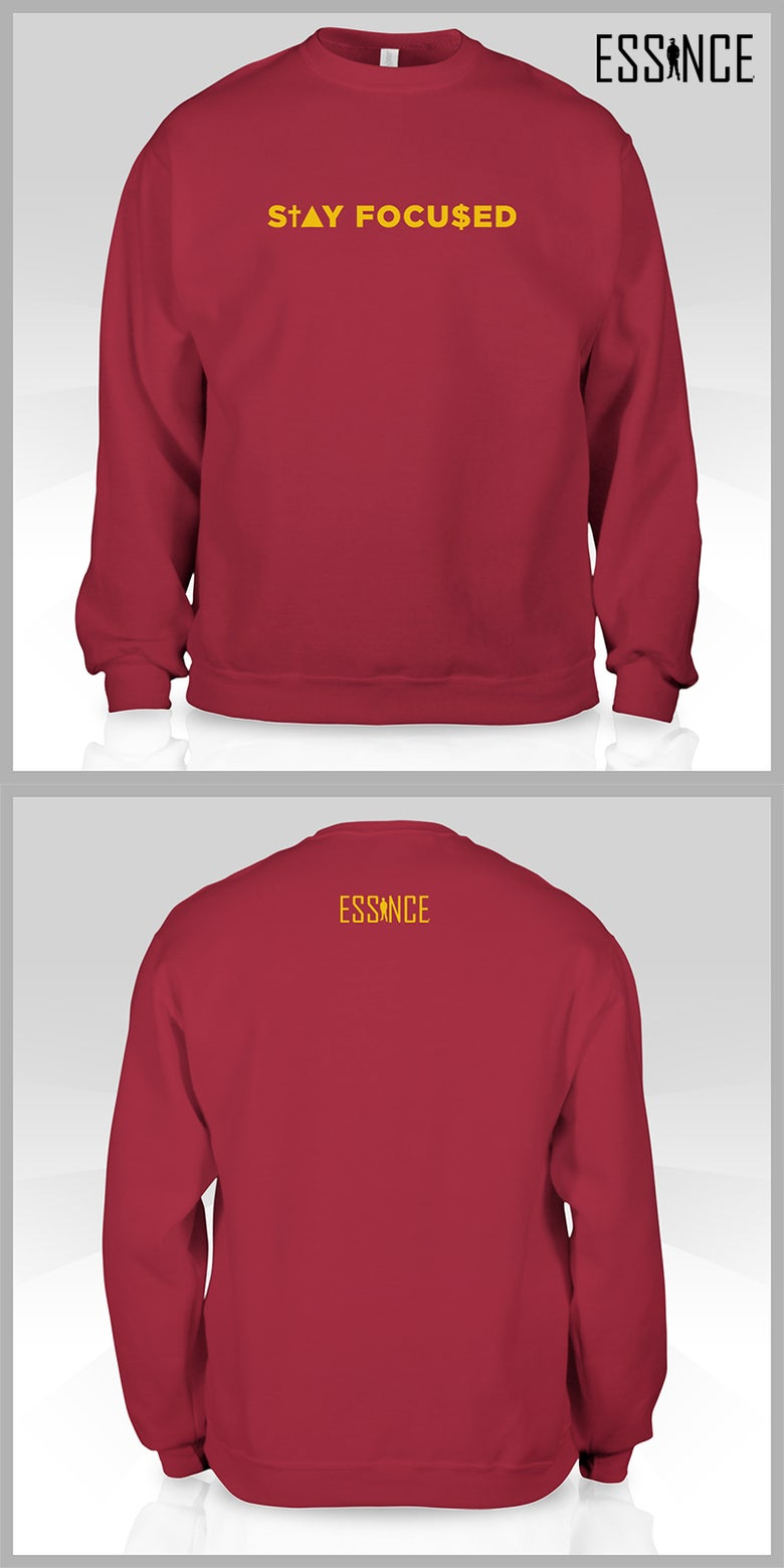 Image of STAY FOCU$ED Crewneck (wine/gold) *LIMITED EDITION*