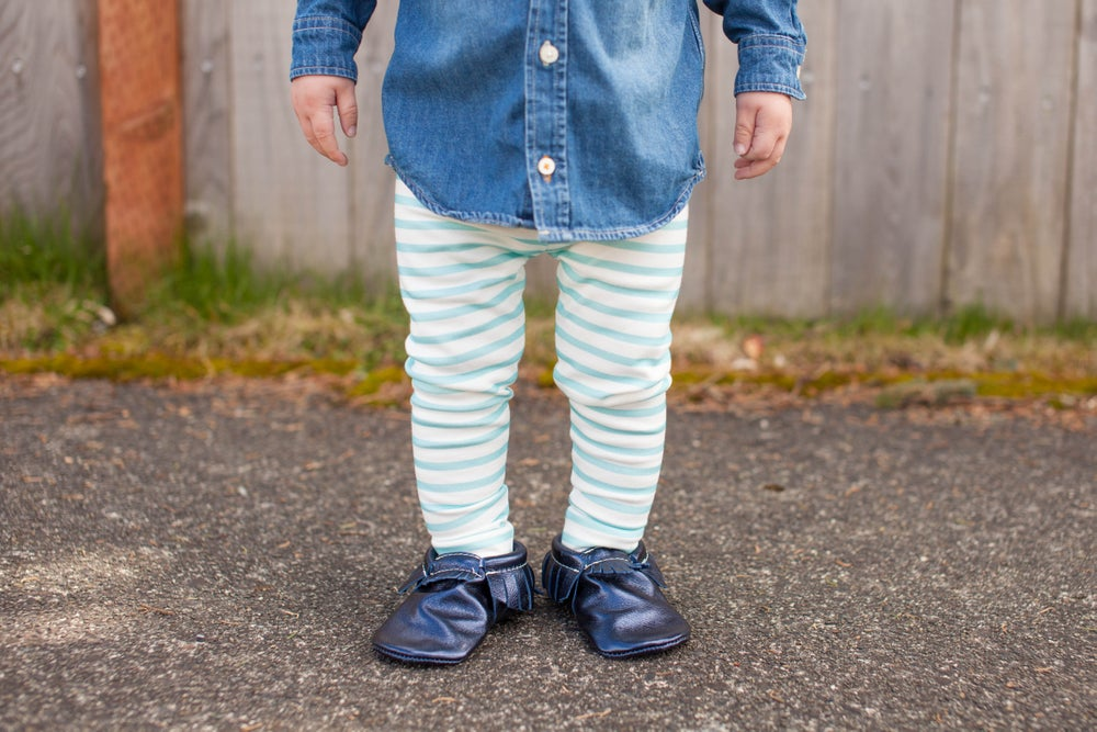 Image of ORGANIC COTTON STRIPED CUFFED LEGGINGS - mint