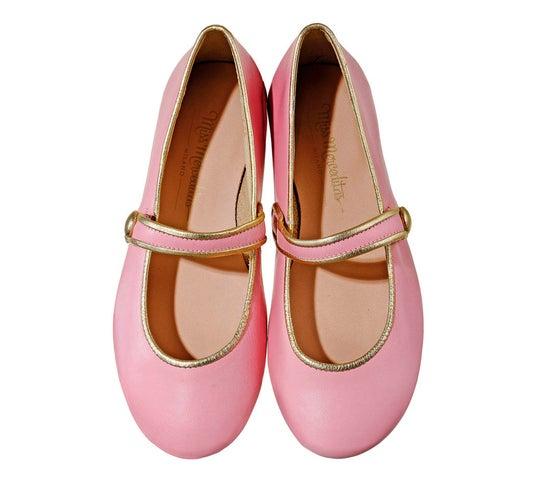 Image of Merceditas bon-ton pink with gold piping