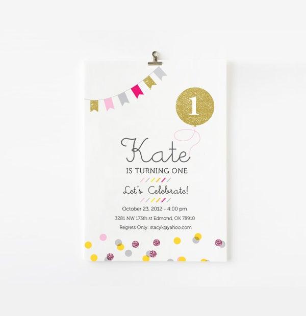 Image of Gold balloon and confetti custom invite
