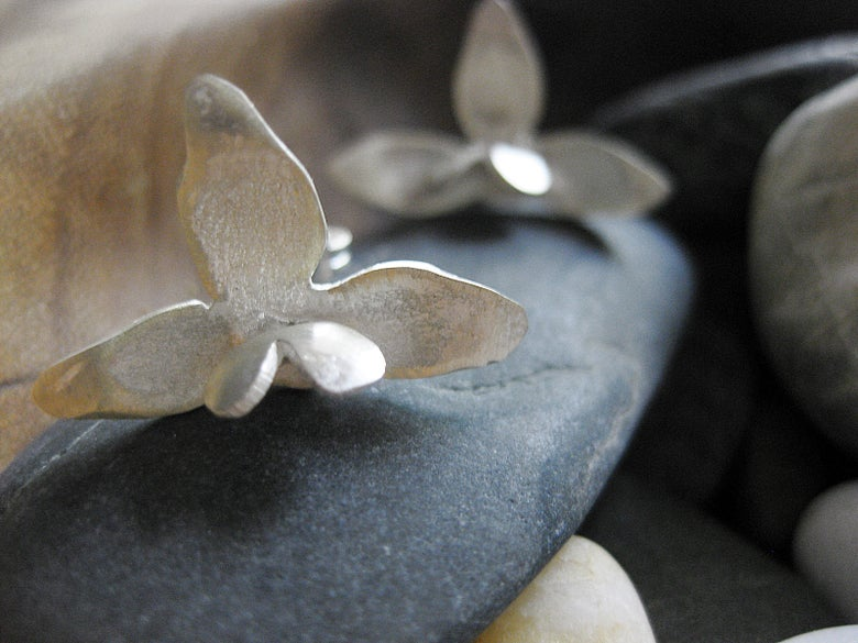 Image of Heart orchid stud earrings: hand forged in sterling silver