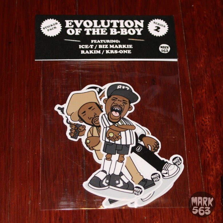 Image of Sticker pack: Evolution OF The B-Boy Series 2 including Ice-T,Biz Markie, KRS-One & Rakim