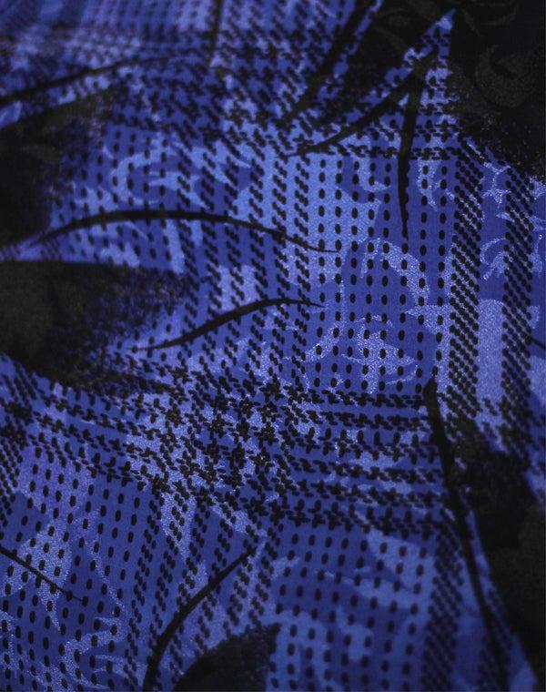 Image of Chemise manches bouffantes noire et bleue