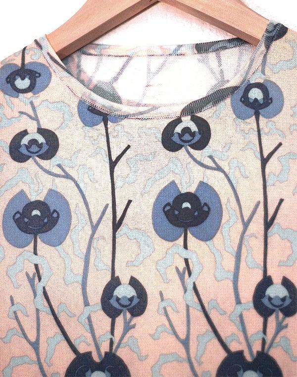 Image of Robe droite beige et bleue