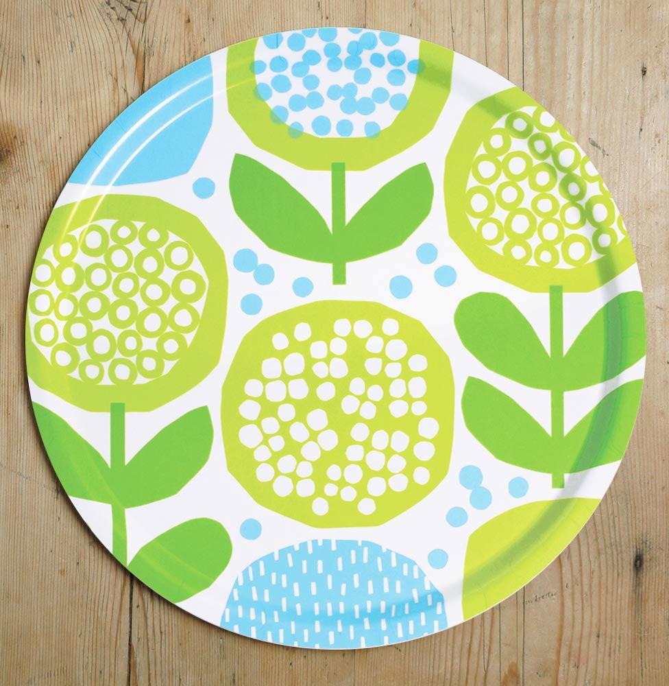 Image of Green/blue birchwood tray