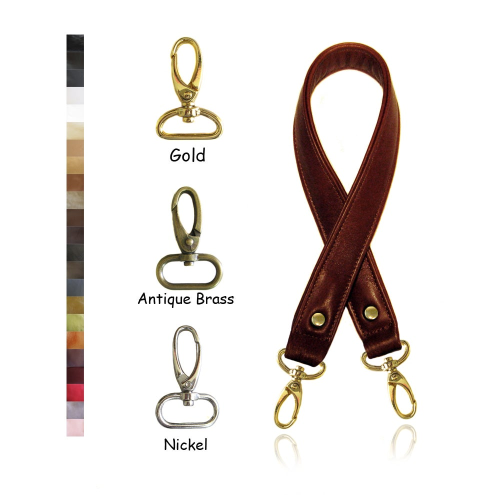 """Image of 30"""" (inch) Long Leather Purse Strap - 1"""" (inch) Wide - Your Choice of Color & Hook #5"""