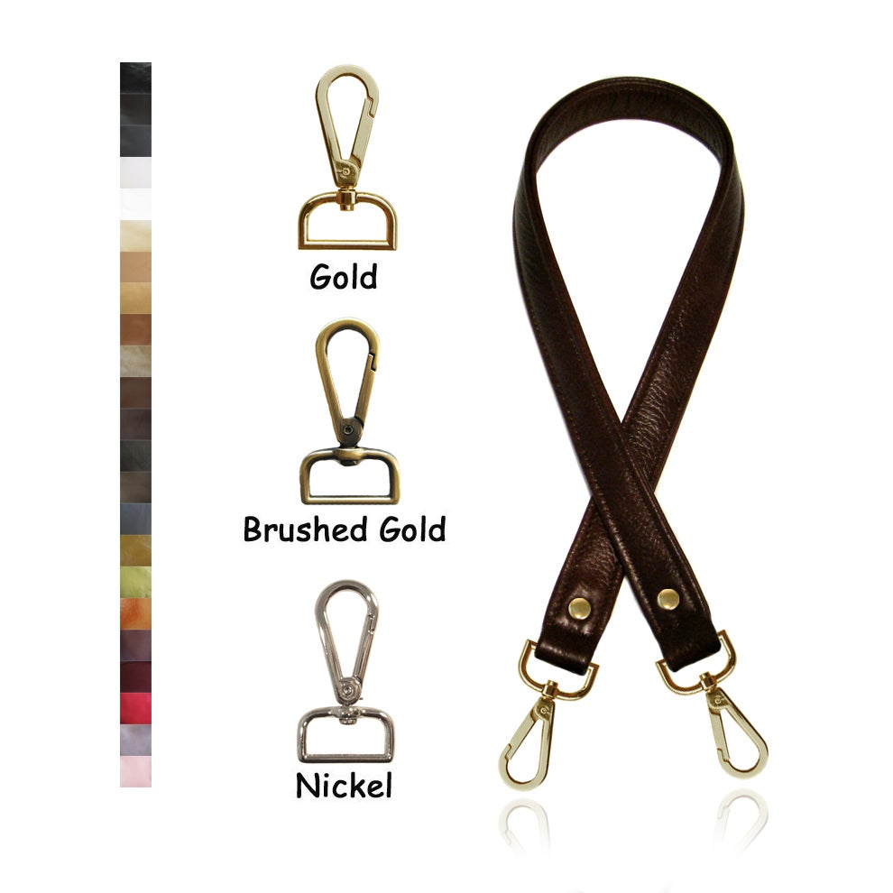 """Image of 40"""" (inch) Long Leather Purse Strap - 1"""" (inch) Wide - Your Choice of Color & Hook #14"""