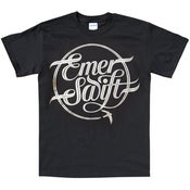 Image of Emer Swift t-shirt silver print on black ltd edition.
