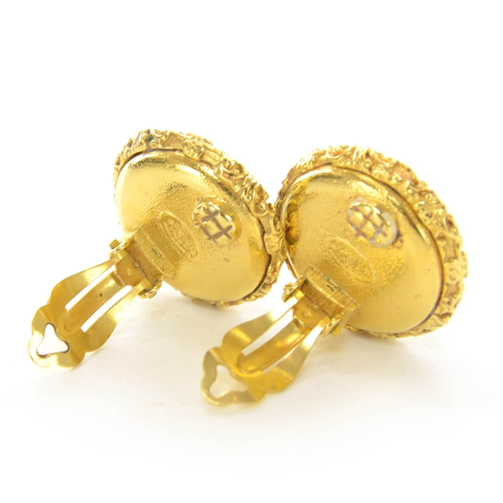 Image of SOLD OUT CHANEL Vintage CC Black and Gold Clip On Earrings