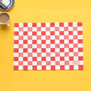 Image of Checkered Place mat - Red