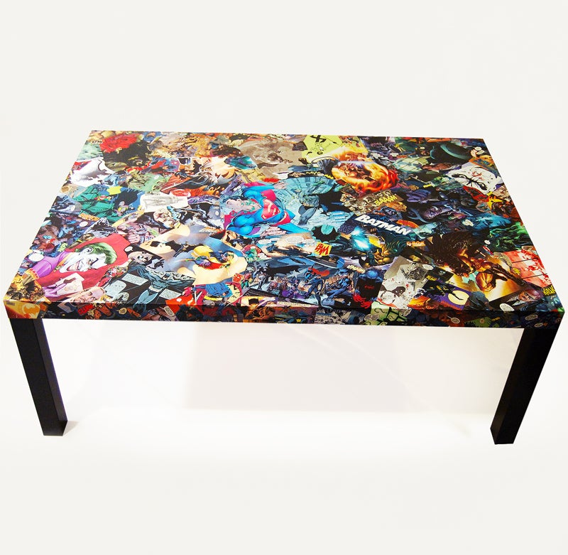 Batman Large Comic Collage Coffee Table - Comic Fusion Decor — Batman Large Comic Collage Coffee Table