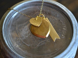 Image of Heart Locket & Banner Necklace