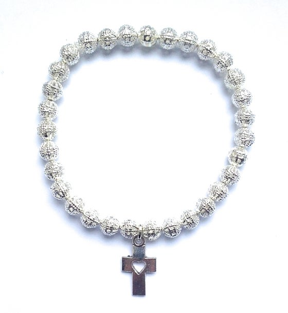 Image of Kool Jewels silver filgree cutout beaded bracelet cross