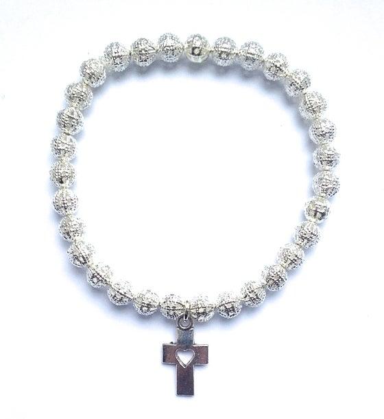 Image of Kool Jewels silver filgree cutout beaded bracelet cross