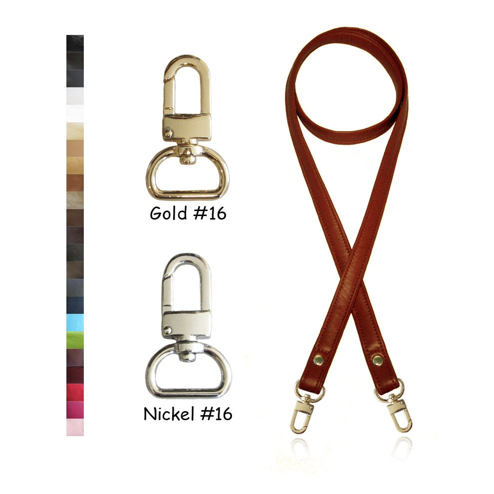 "Image of 50"" (inch) Long Leather Strap - .75"" Wide - GOLD or NICKEL #16 Hooks - Choose Color & Hardware"