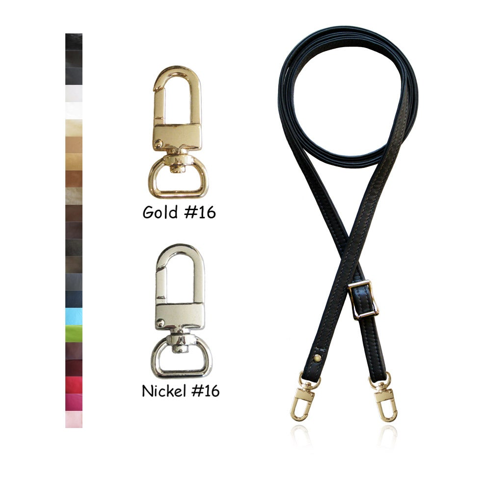 "Image of 55"" (inch) Adjustable Leather Strap - .5"" Wide - GOLD or NICKEL #16 Hooks - Choose Color & Finish"