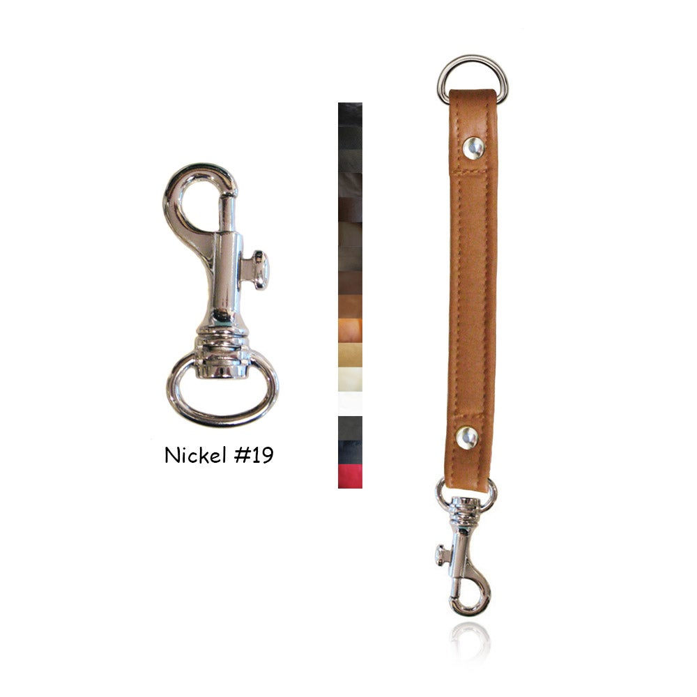 "Image of Leather Strap Extender - .75"" Wide - Nickel #19 Attachable Hook - Choice of Leather Color & Length"