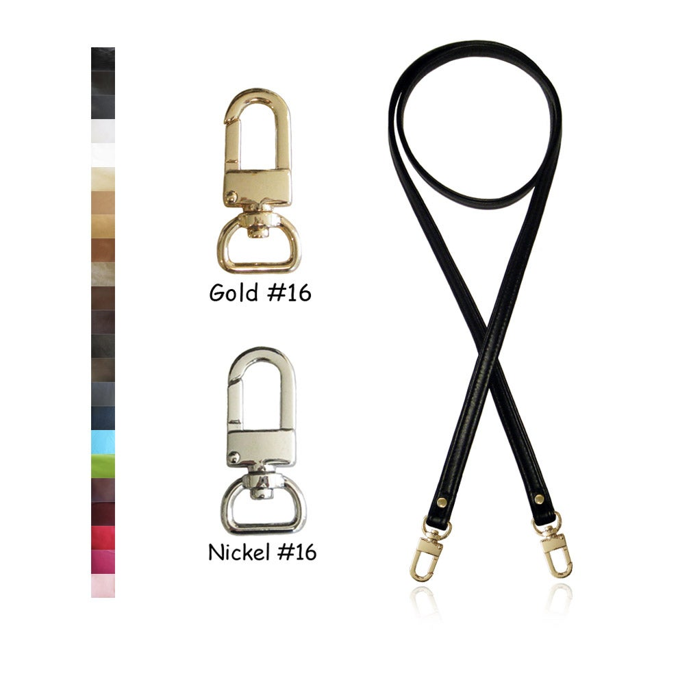 """Image of 50"""" (inch) Cross Body Leather Strap - .5"""" Wide - GOLD or NICKEL #16 Hooks - Choose Color & Finish"""