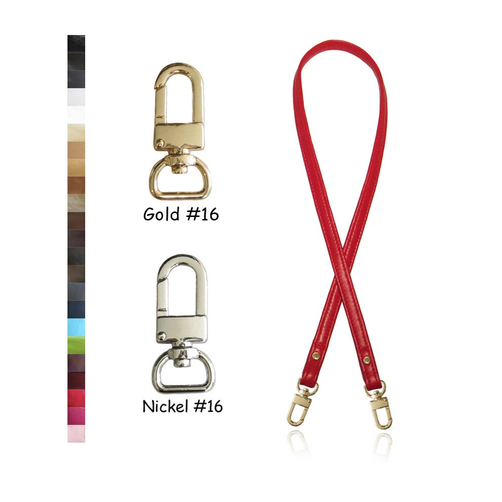 "Image of 30"" (inch) Leather Purse Strap - .5"" Wide - GOLD or NICKEL #16 Hooks - Choose Color & Finish"