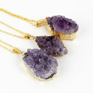 Image of Freeform Amethyst Druzy Pendant with Gold Edges , SA483