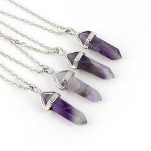 Image of Crystal Point Amethyst Necklace, SW279 Amy