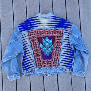 Image of HILL&VELEZ X LeROY JENKINS DENIM JACKETS FRAMED FLOWER
