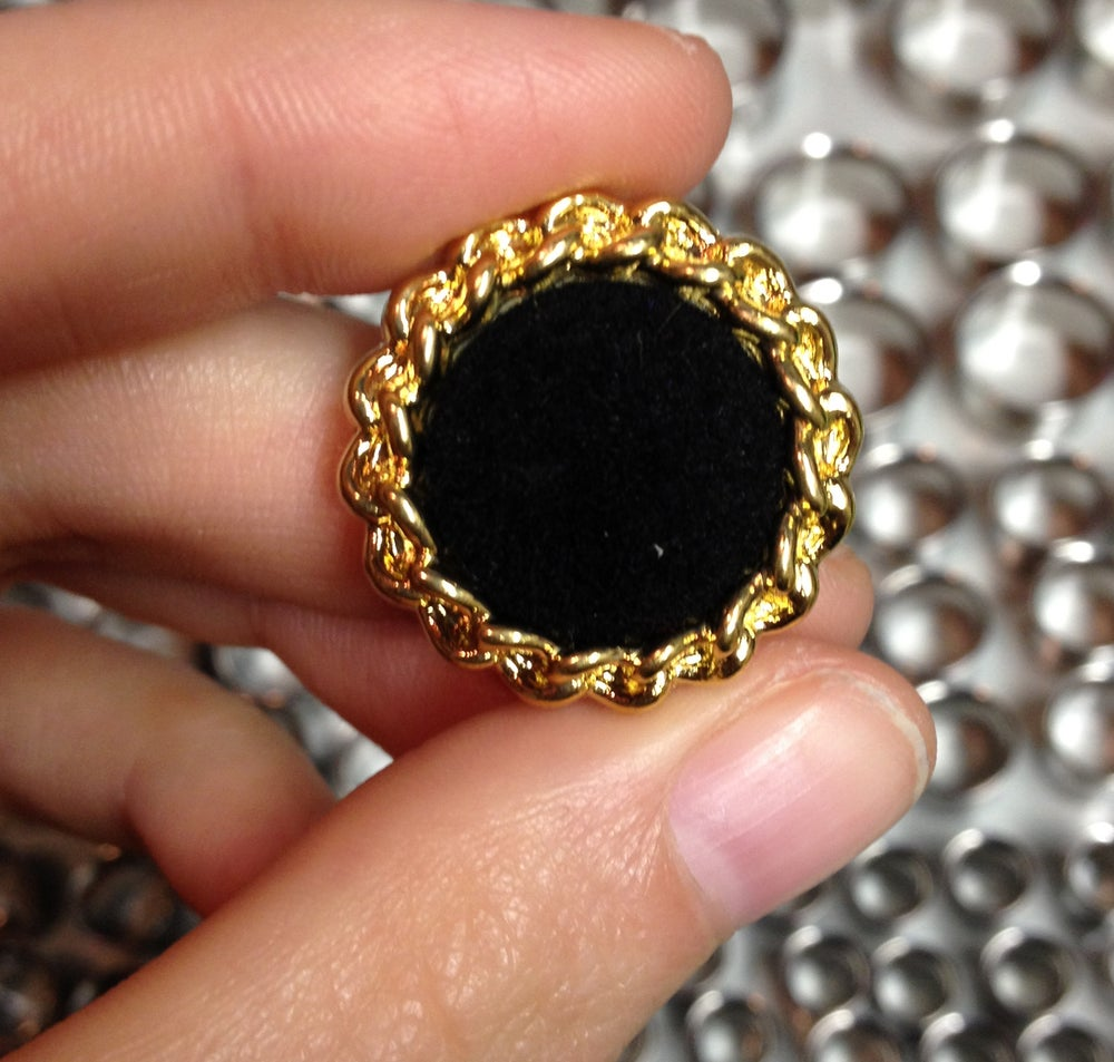 Image of Black Velvet & Gold Rope Plugs (sizes 0g- 3/4)