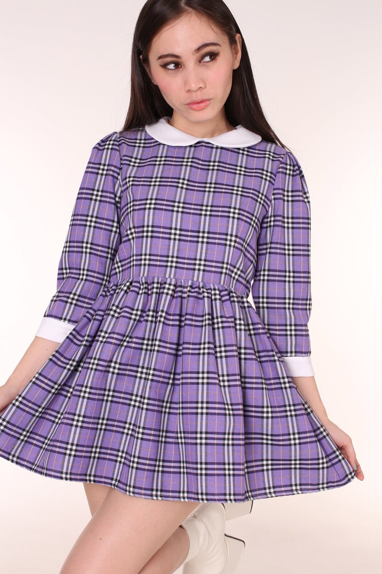 Image of Made To Order - Caroline Baby Doll Dress in Purple Tartan