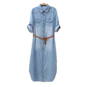 Image of Distressed Rivet Denim Long Shirt Dress With Leather Belt
