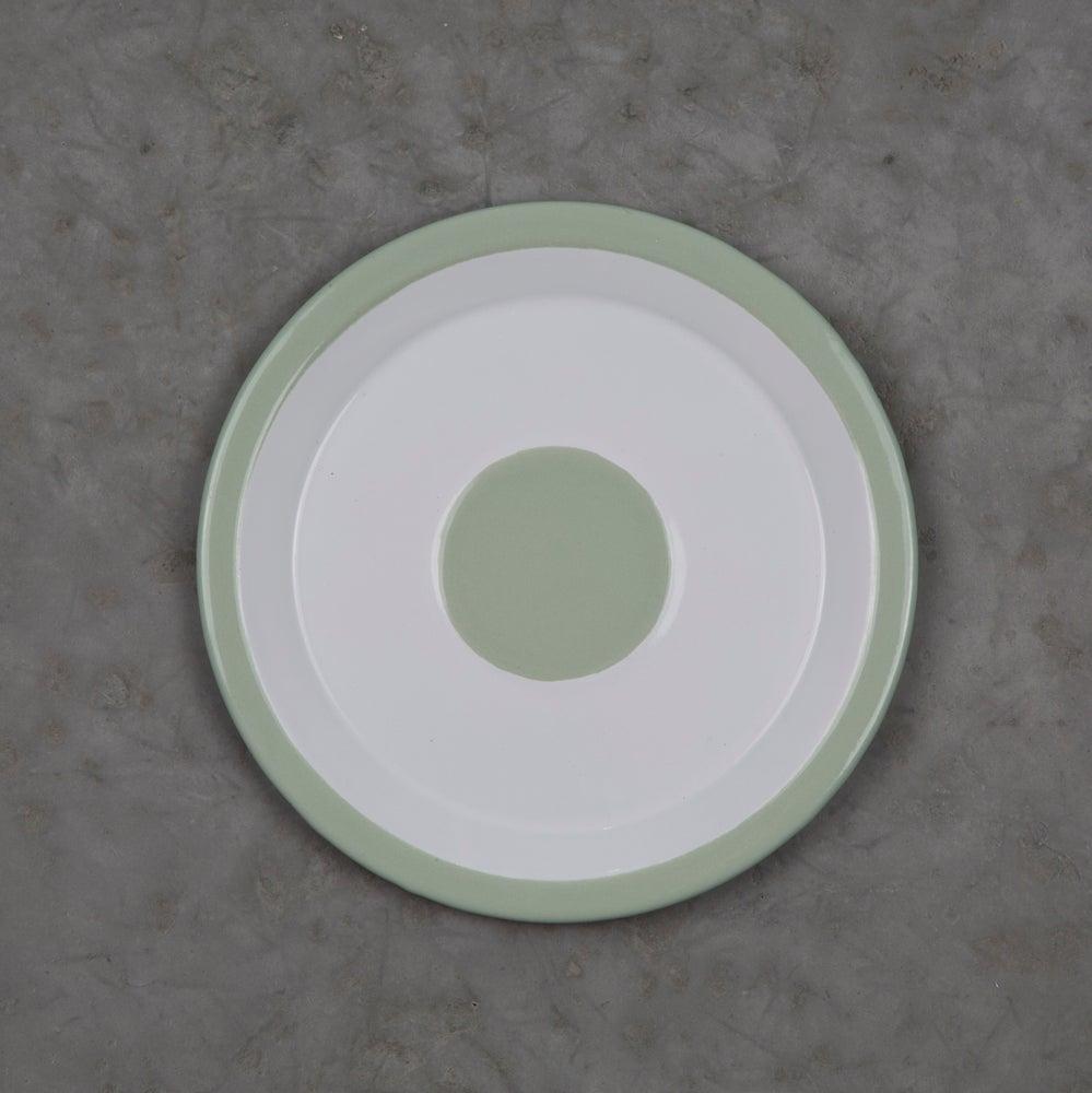 Image of Enamel Plate GREEN ALMOND 18cm