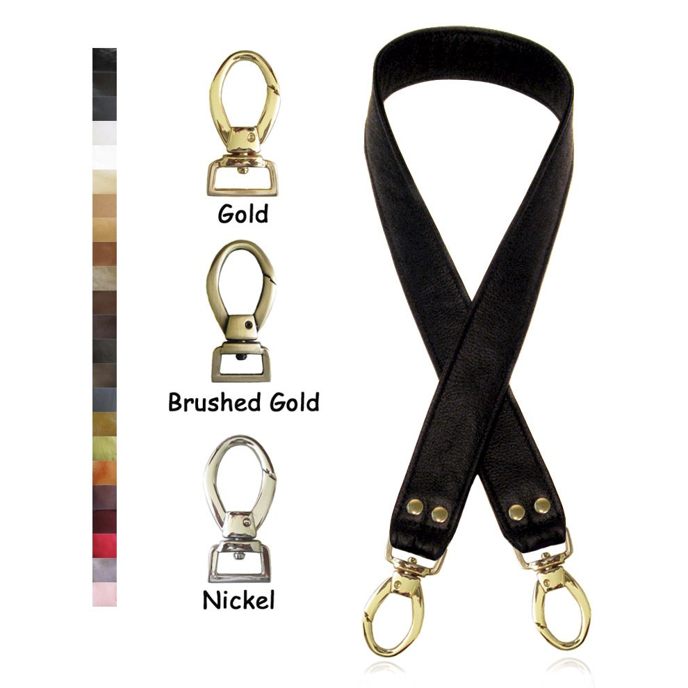 "Image of 40"" (inch) Leather Shoulder Strap - 1.5"" Wide - Your Choice of Leather Color & Hook #2"