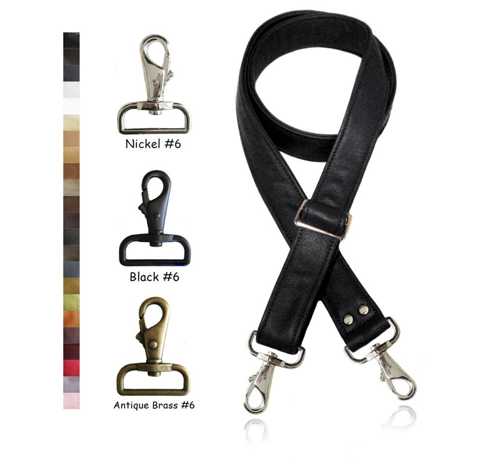 "Image of 55"" (inch) Adjustable Leather Purse Strap - 1.5"" (inch) Wide - Your Choice of Color & Hook #6"