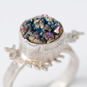 Image of Botanical Rainbow Druzy Quartz Fern Ring