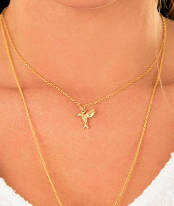Image of gold hummingbird necklace