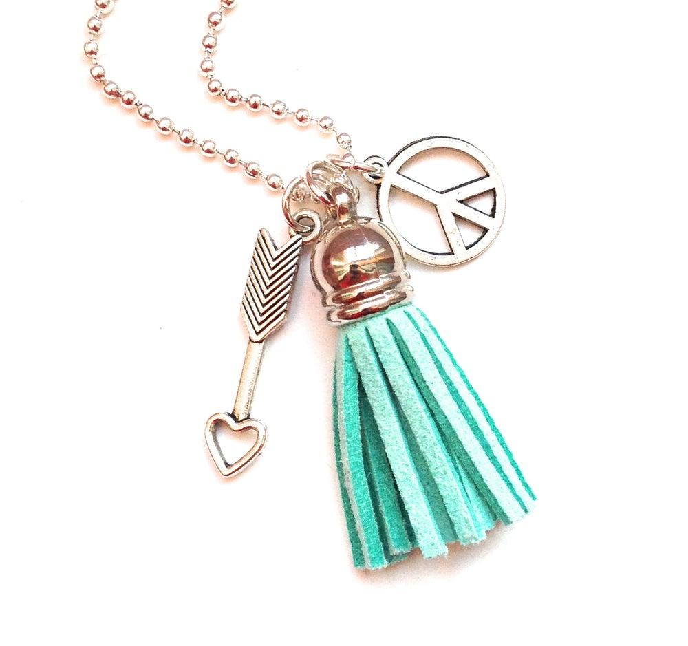 Image of Kool Jewels tassel charm necklace - silvertone