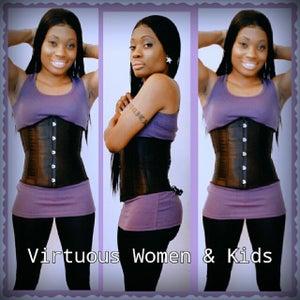 Image of black corset waist training