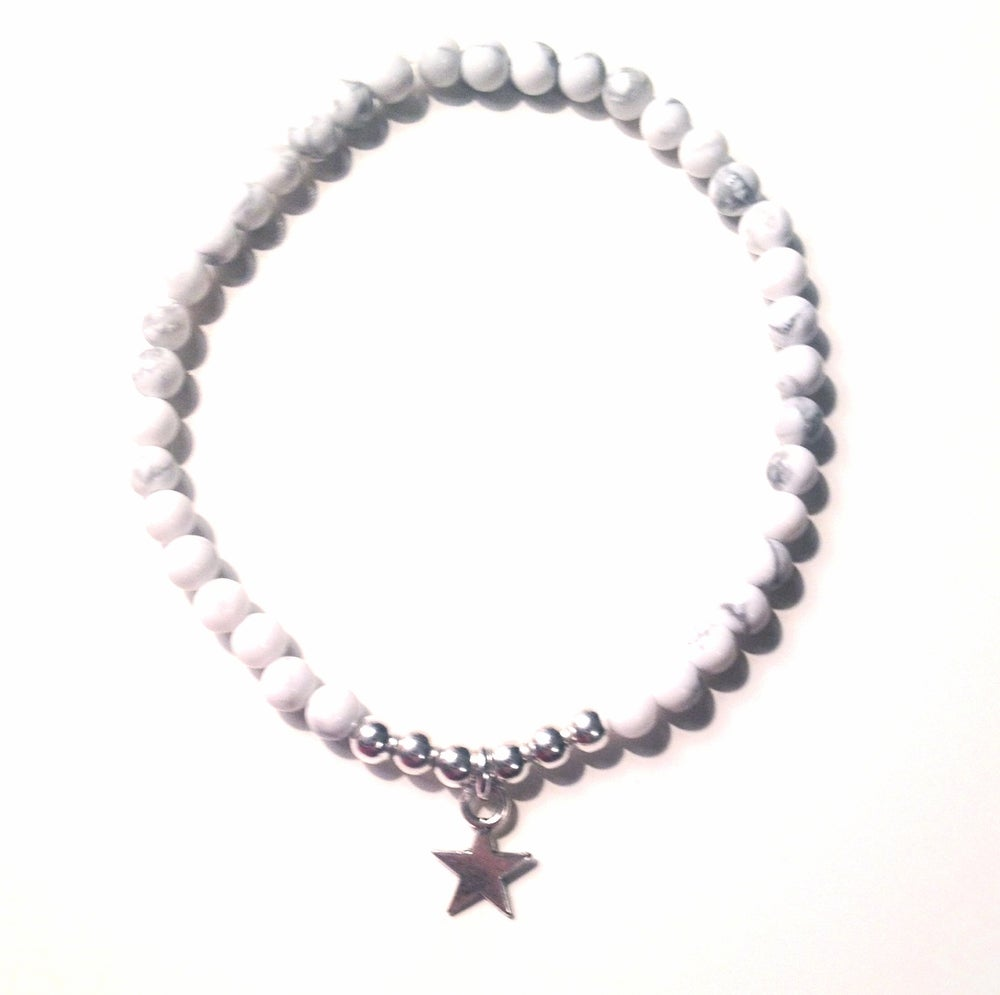 Image of Kool jewels marbled effect white star charm bracelet