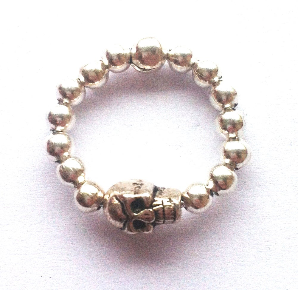 Image of Stackable silvertone ball bead ring - Skull