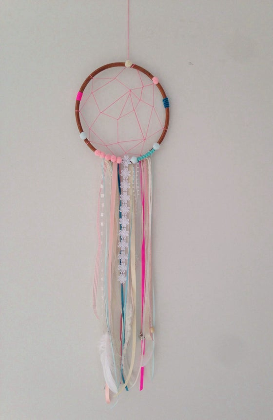 Image of Mint and pink bohemian dream catcher (made to order)