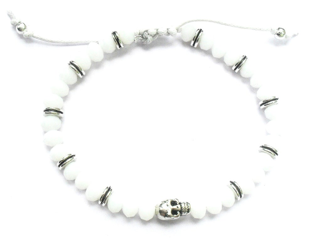 Image of White beaded Buddha bracelet