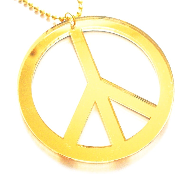 Image of Oversized Mirrored Peace Necklace