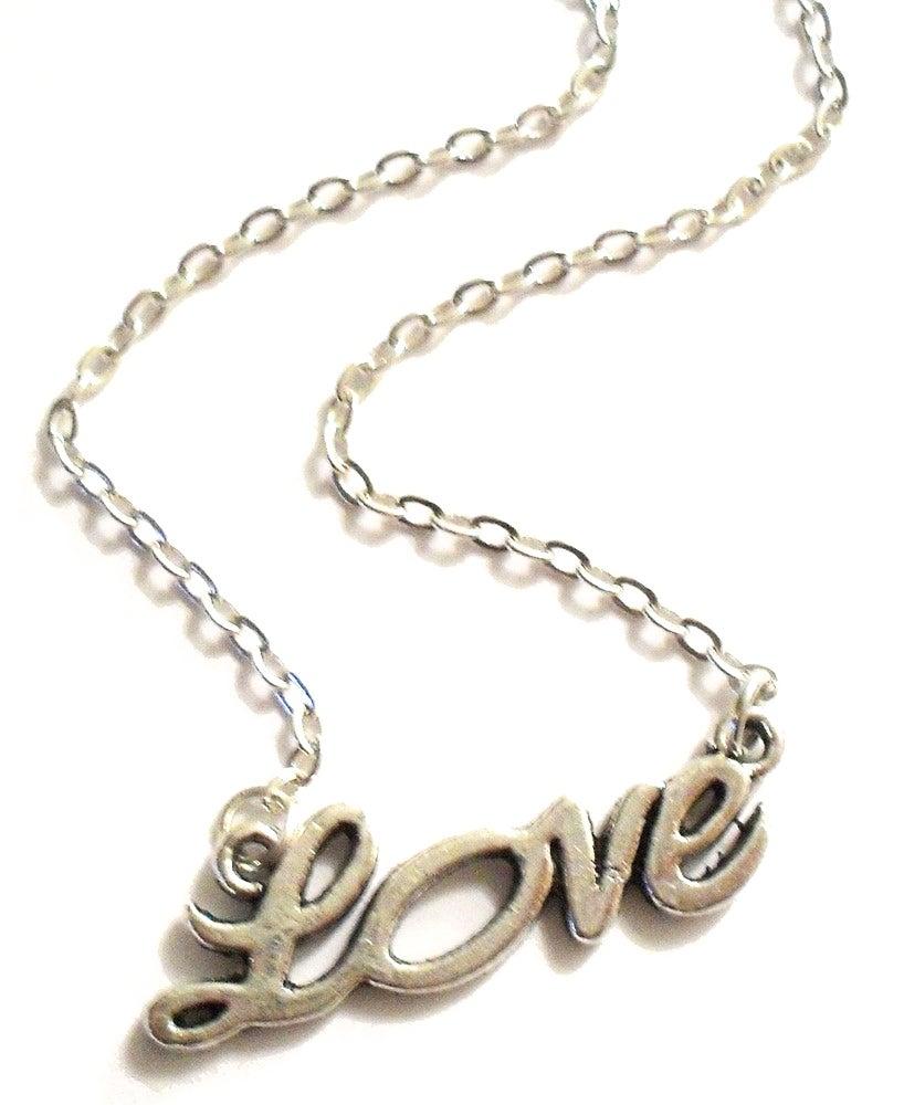 "Image of Kool Jewels Silvertone ""Love"" Necklace"