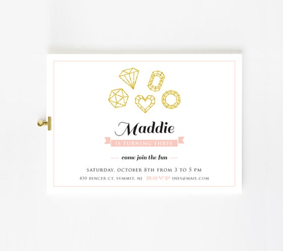 Image of Gold gems party invite